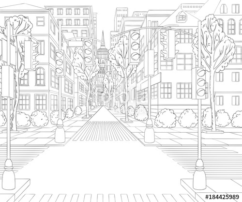 500x417 City Street With Buildings, Traffic Light, Crosswalk And Traffic