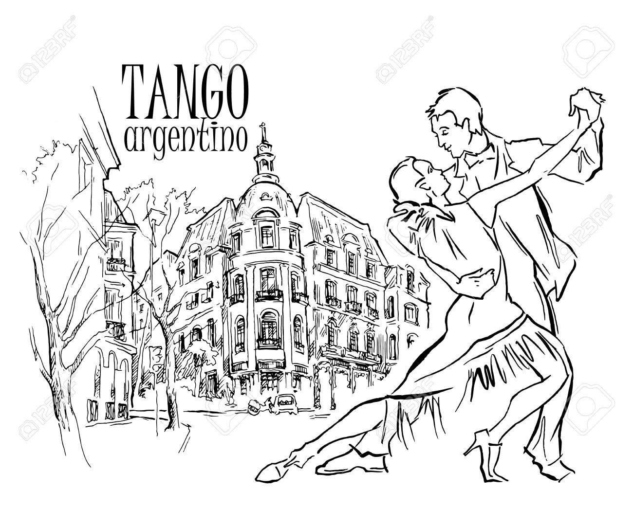 1300x1083 Hand Made Sketch Of Tango Dancers With City Background. Vector