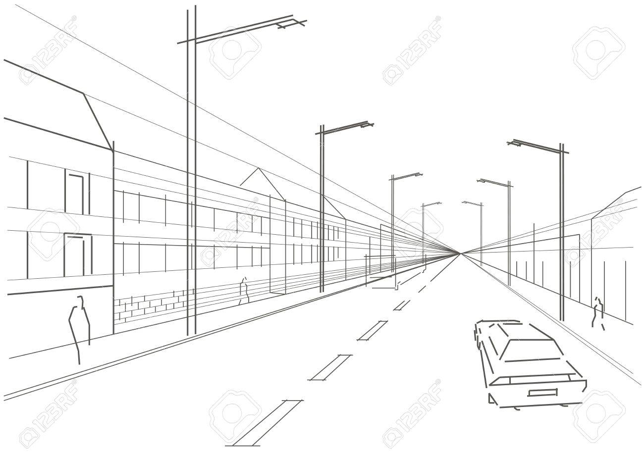 1300x919 Linear Architectural Sketch City Street White Background Royalty