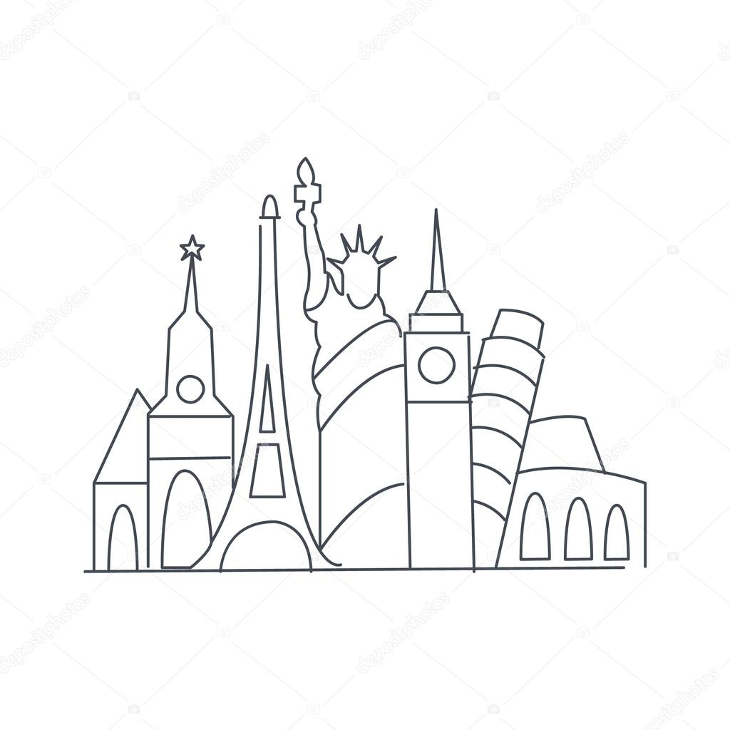 1024x1024 Set Of World Famous Symbolical Monuments Stock Vector