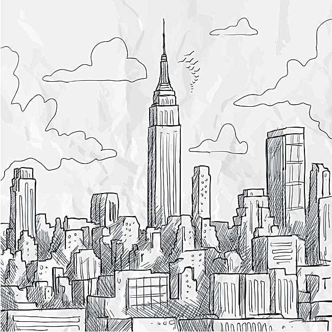 650x650 Hand Drawn Sketch Background Creative City Building, Hand Painted