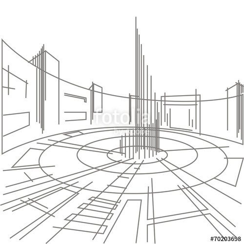 500x500 Linear Sketch Of A City Square On A White Background Stock Image