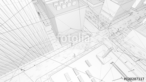 500x282 Abstract 3d City Rendering With Lines And Digital Elements