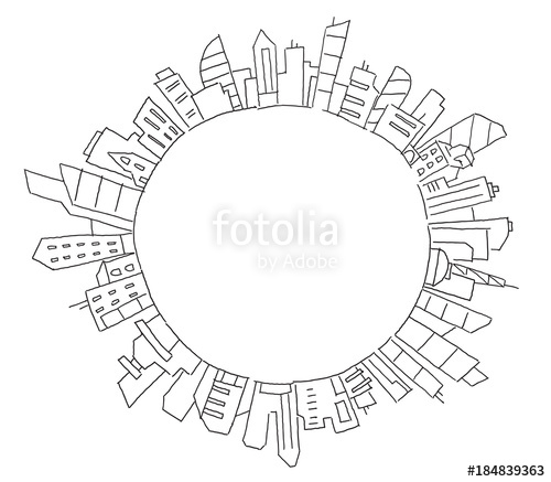 500x437 City Panorama Drawing In Circle Round. Place For Text. Hand Drawn