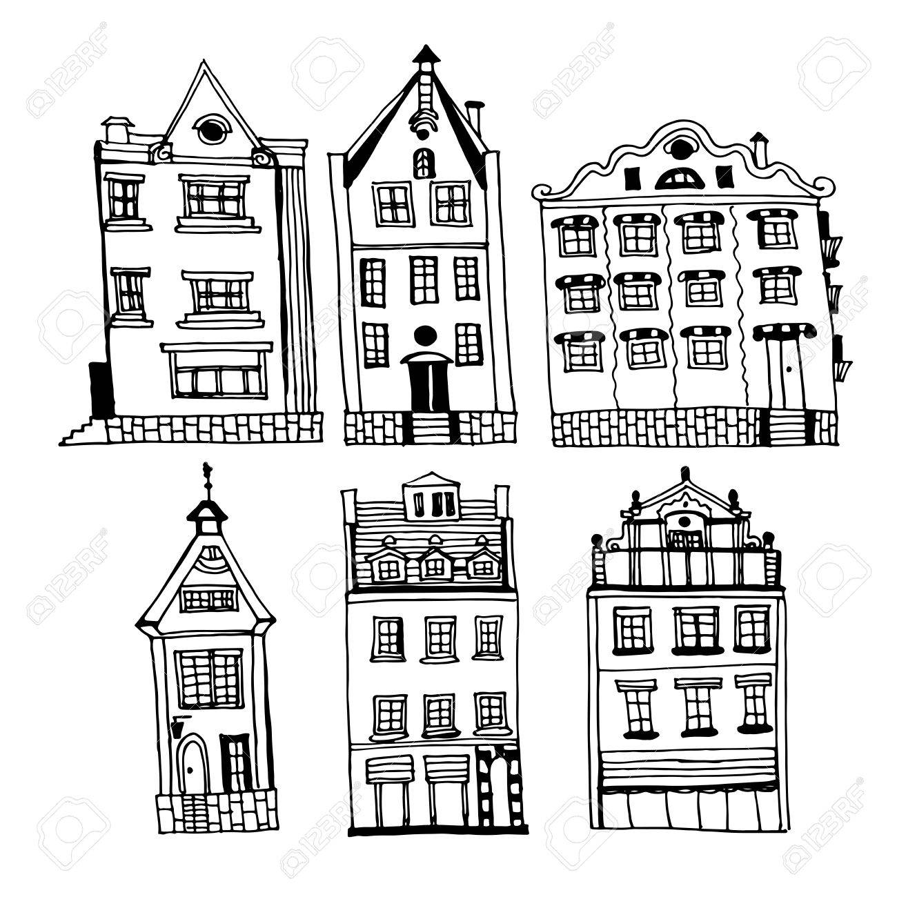 1300x1300 Drawing Of A Set Of Vintage Houses Of The Old City Of Riga, Sketch