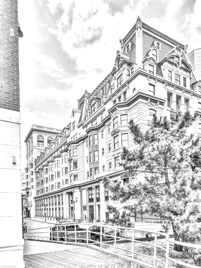674x900 Pencil Art Atlantic City Buildings Photograph By Charles A Lamatto