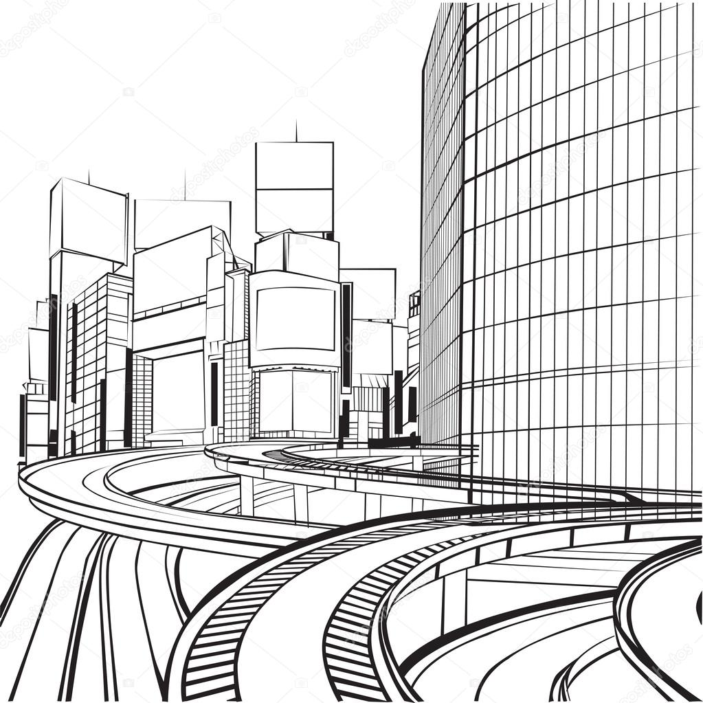 1023x1023 Sketch Of The Silhouette Of The City Stock Vector Roman4