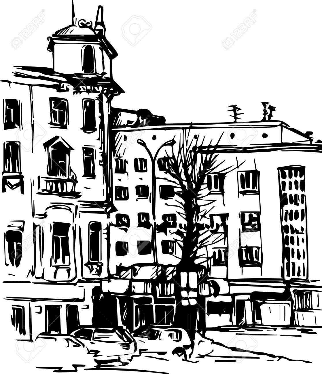 1118x1300 Urban Sketch, City Street With Buildings And Trees, Hand Drawn