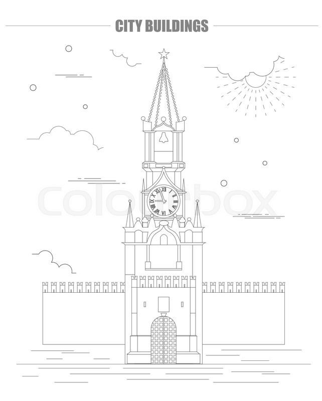 642x800 City Buildings Graphic Template. Kremlin. Moscow. Vector