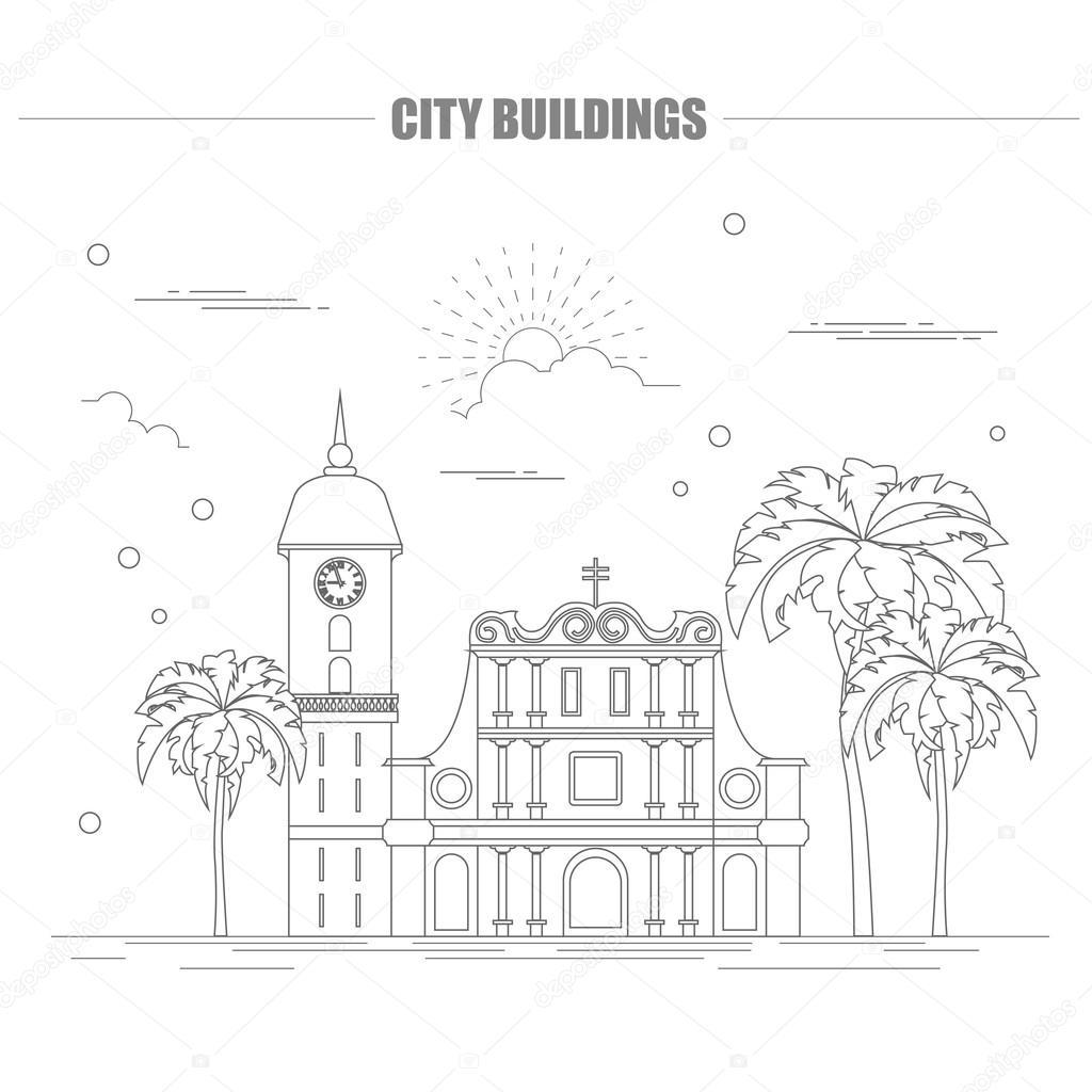 1024x1024 City Buildings Graphic Template. Venezuela Stock Vector A7880s