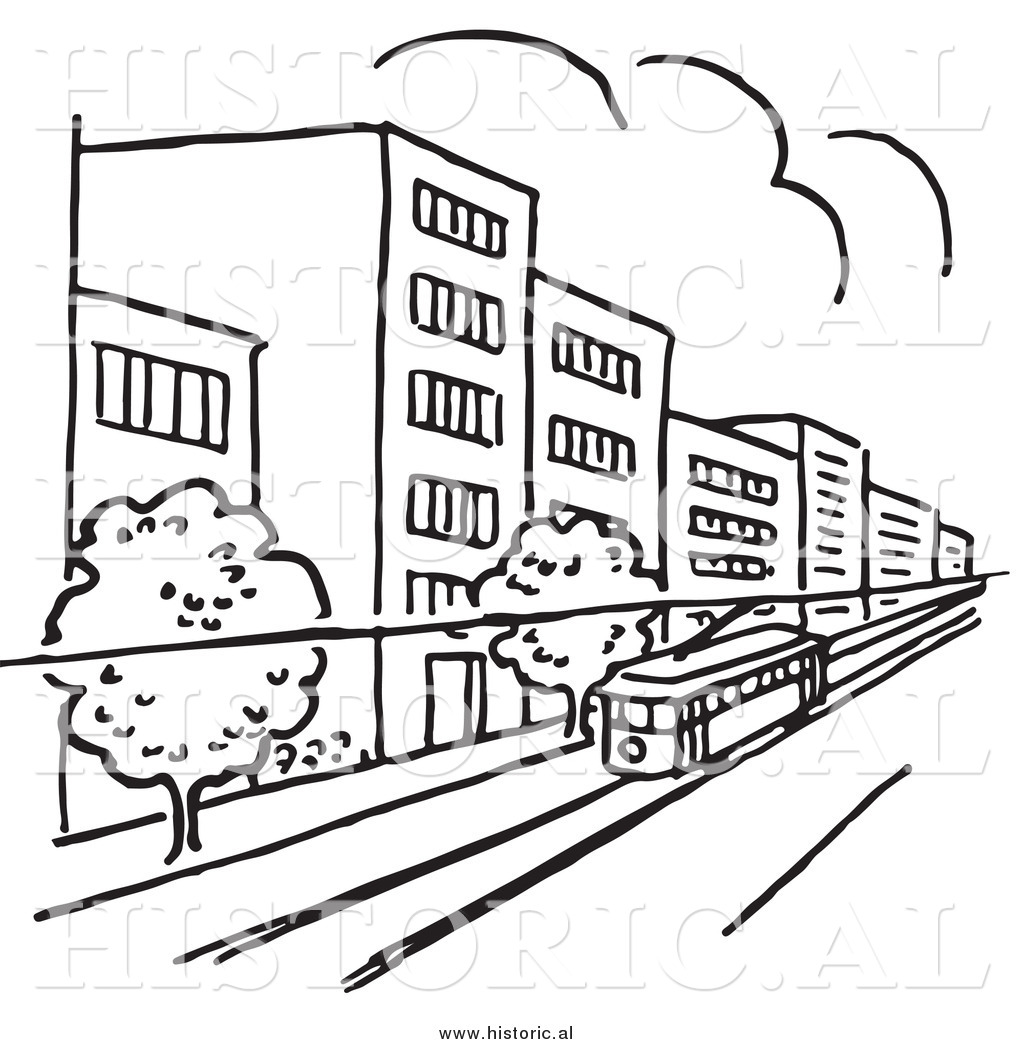 1024x1044 Clipart Of A Tram Traveling Through A City With Buildings