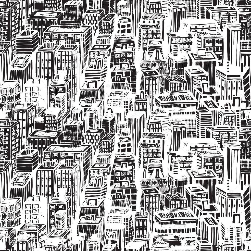 1024x1024 Hand Drawn Seamless Pattern With Big City New York Stock Vector