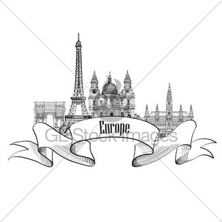 325x325 Travel Europe Label. Famous Landmark Buildings. City Attr Gl
