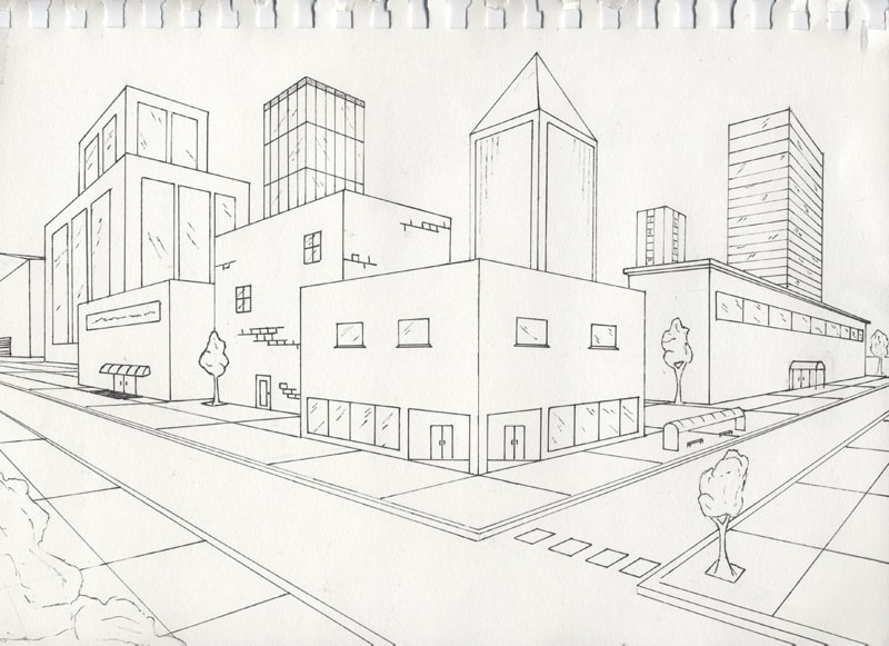 800x581 A Two Point Perspective Drawing Of Awn, I Give Good Credit
