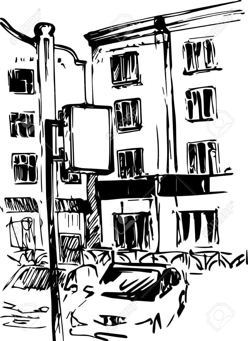 947x1300 Urban Sketch, City Street With Buildings,cars And Trees, Hand