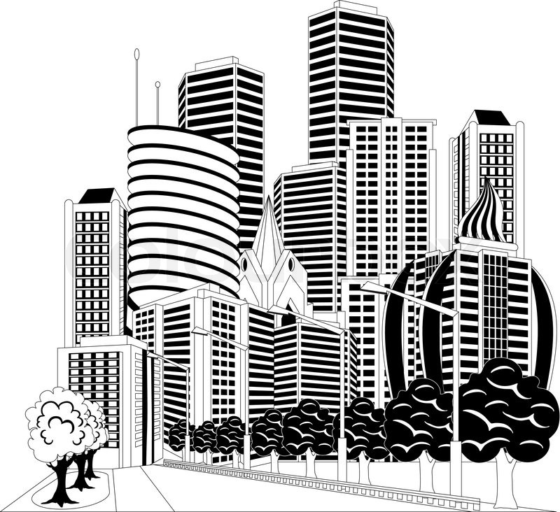 800x732 Black And White Ilustration Of A Street In Downtown With Office