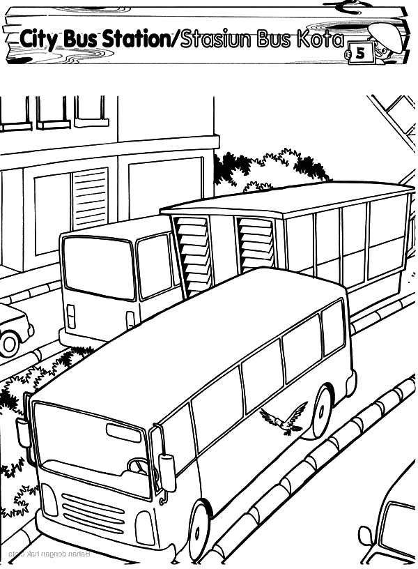600x816 City Bus Station Coloring Pages