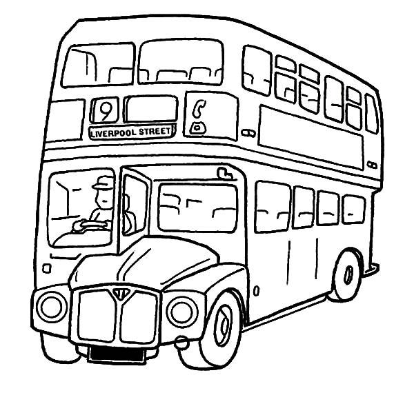 600x573 City Double Decker School Bus Coloring Pages