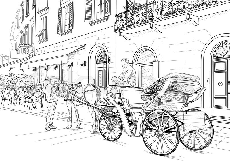 800x576 Drawing Horse Carriages On The Streets Of The Italian City Stock
