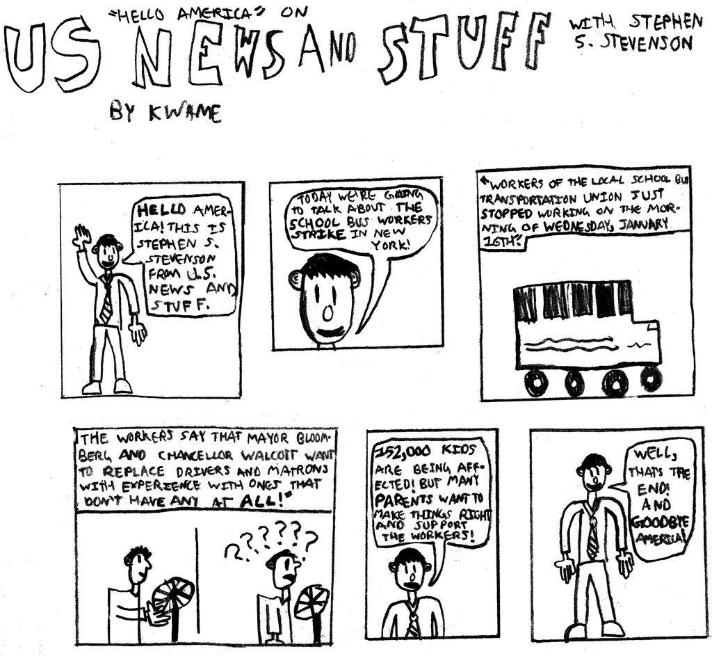 1024x943 Kids Draw The News Bus Strike Comic Strip