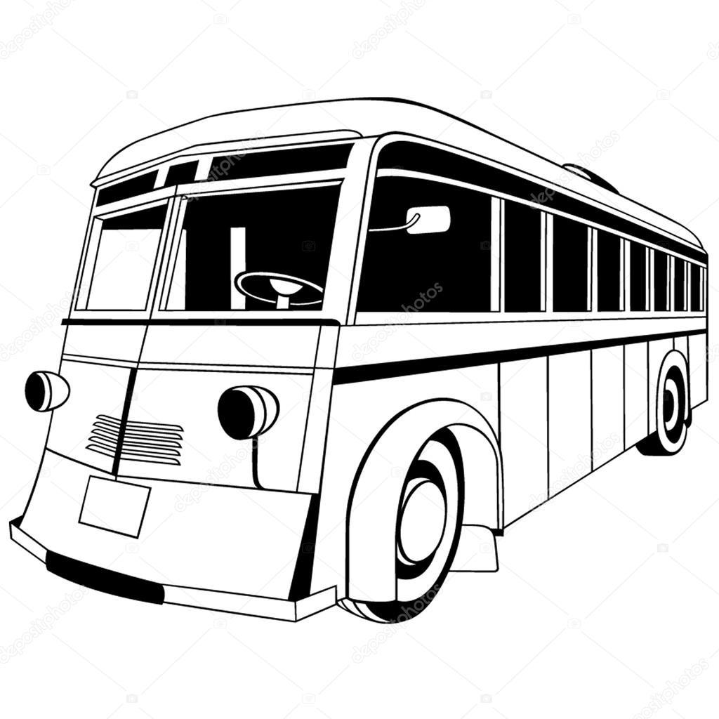 1024x1024 Old City Bus Stock Vector Umlaut
