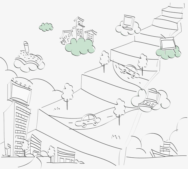 650x582 City Streets, Automobile, Cartoon Hand Drawing Png Image For Free