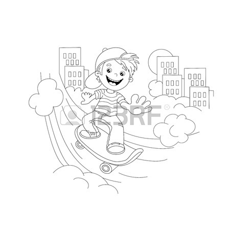 450x450 Coloring Page Outline Of Cartoon Boy On Skateboard In