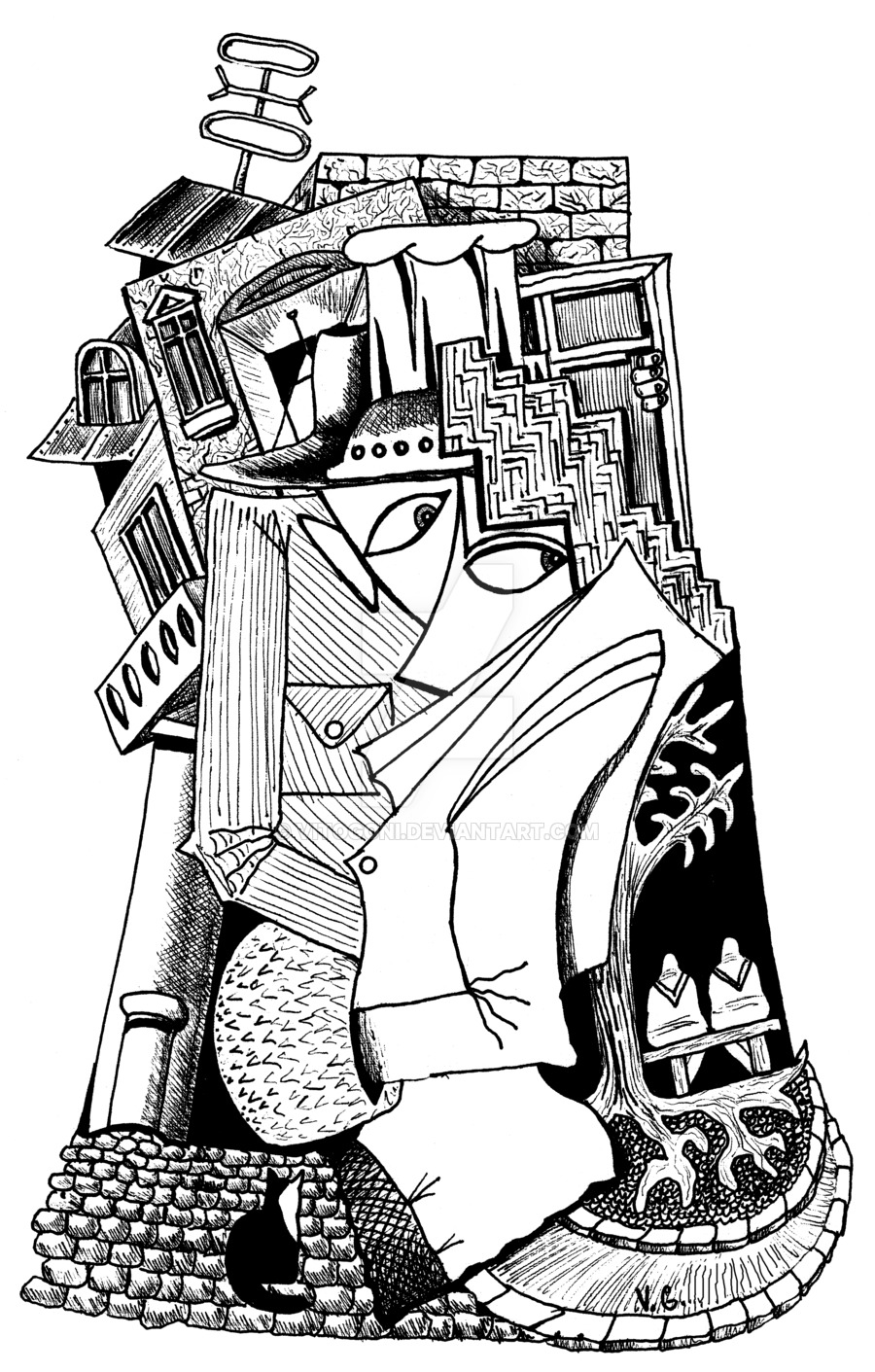 900x1411 Old City Surreal Black And White Pen Ink Drawing By Vitogoni
