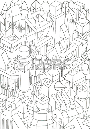 314x450 Red Coloured Sketch Cramped Buildingshouses, Drawing