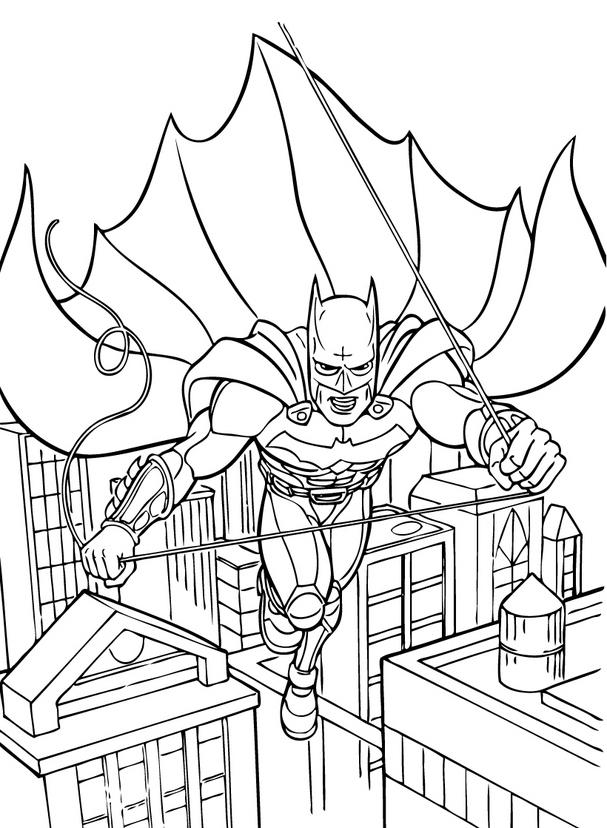 607x828 Batman That Captures The Strap Coloring For Kids Schite