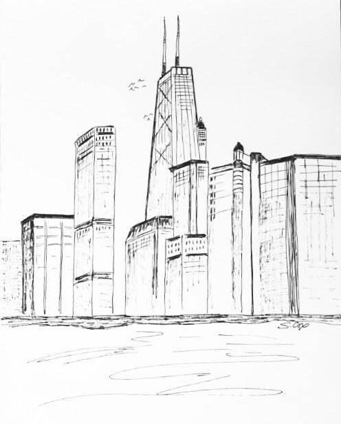 496x616 City Drawing Chicago Skyline Chicago Print Urban Sketch