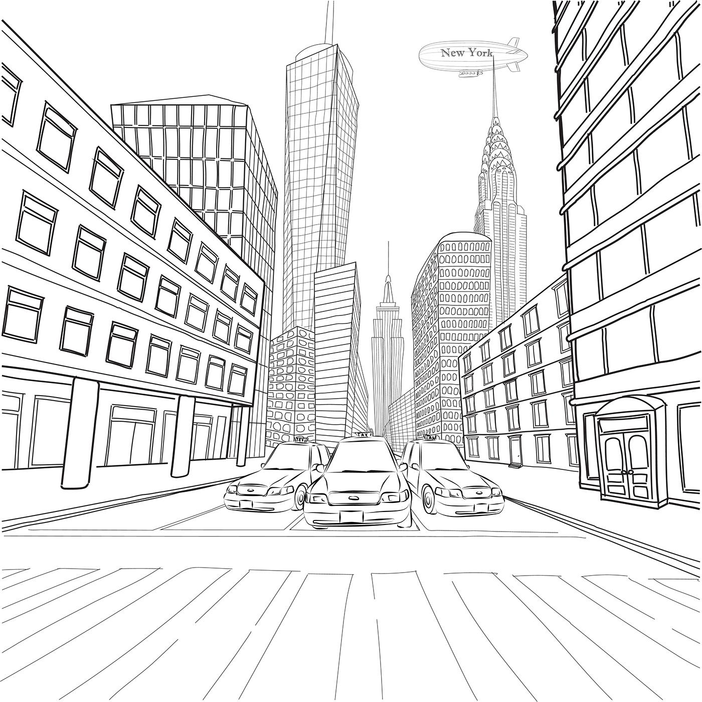 1400x1400 New York Street Life On Behance
