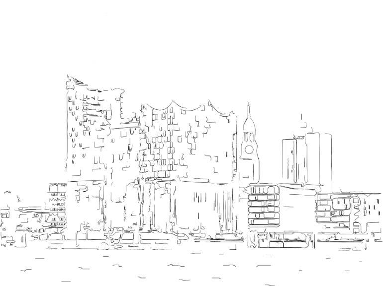 770x578 Saatchi Art Hamburg Harbour City Elbe Philharminic Hall Drawing