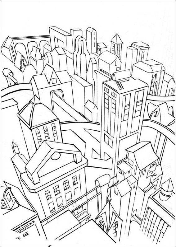 567x794 Batman Gotham City Coloring Pages Preschool For Fancy Draw Photo