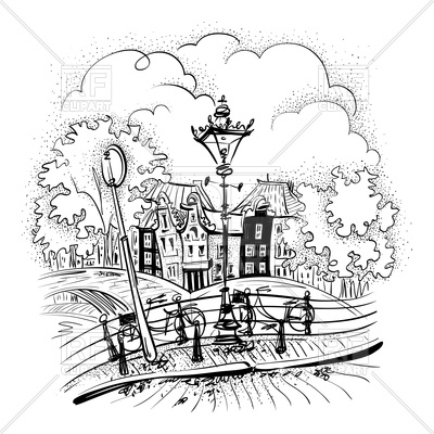 400x400 Black And White Hand Drawing City View Of Amsterdam Royalty Free
