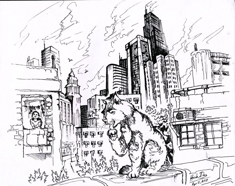 900x714 Cat In The City By Feluda