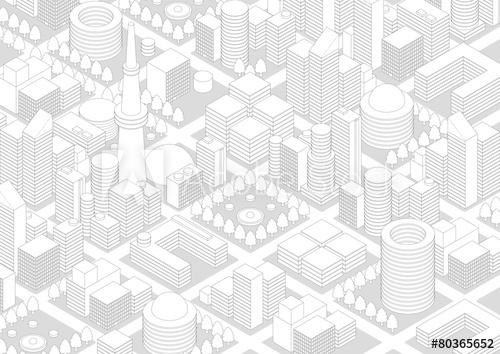 500x354 City Landscape Line Drawing