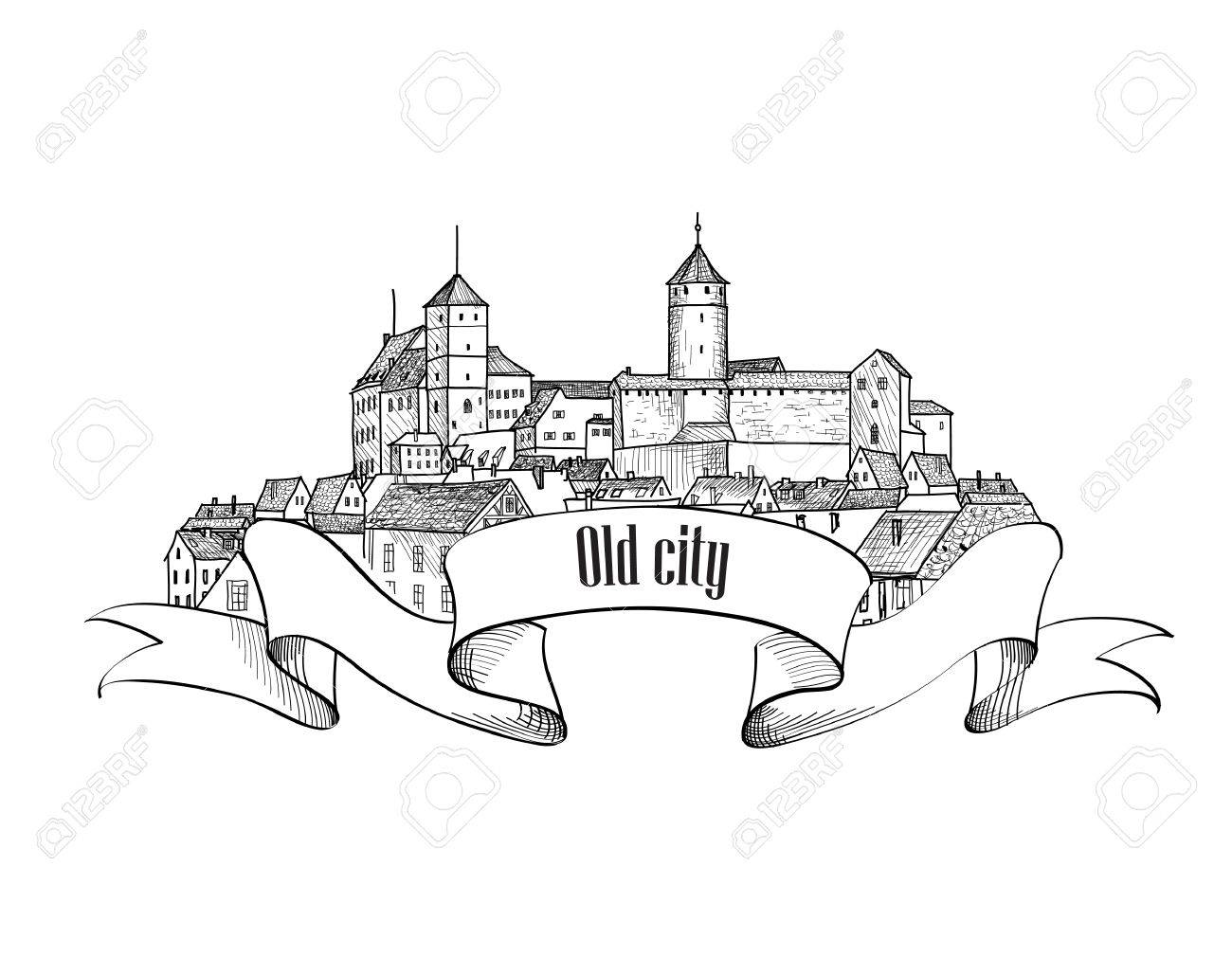 1300x1029 Old City Label Isolated. Downtown View. Medieval European Castle
