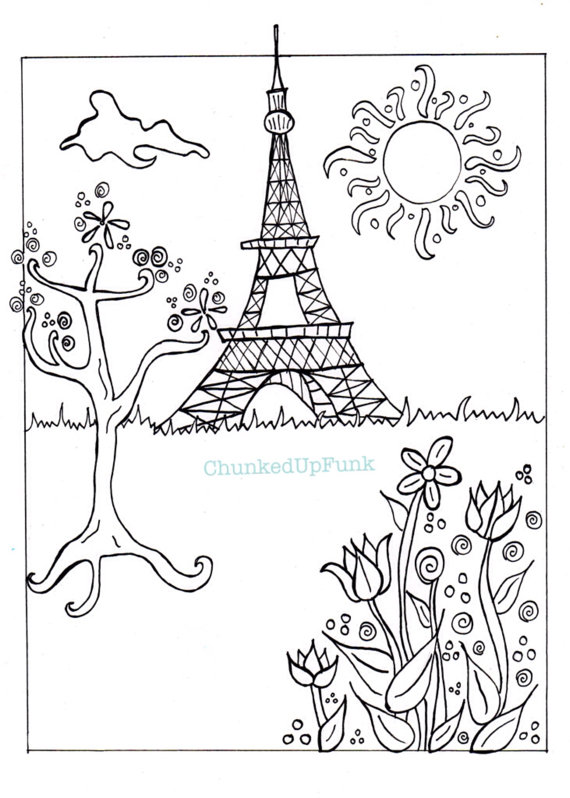 570x798 Paris Illustration Pdf Coloring Page Paris In Spring City