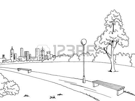 450x338 Park Graphic Art Black White Bench Lamp Landscape Sketch