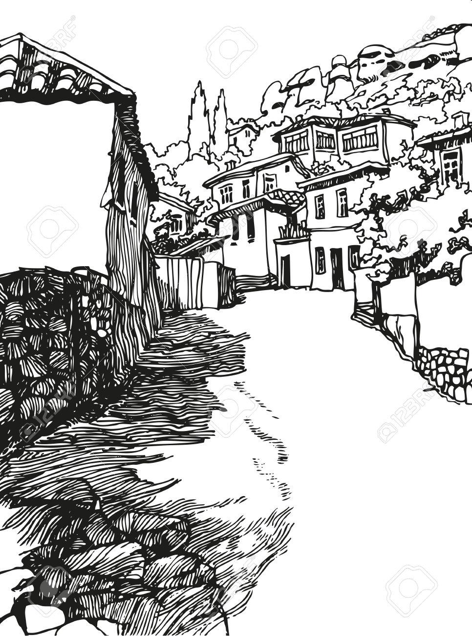 966x1300 Black White Landscape Drawings Illustration Of The Black