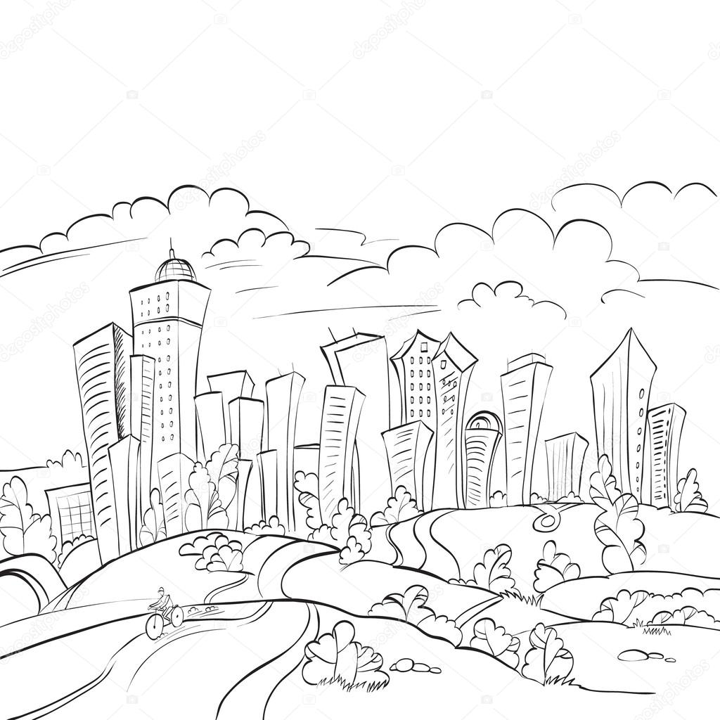 1024x1024 Urban Landscape Of The City And The Forest, Nature, Vector Stock