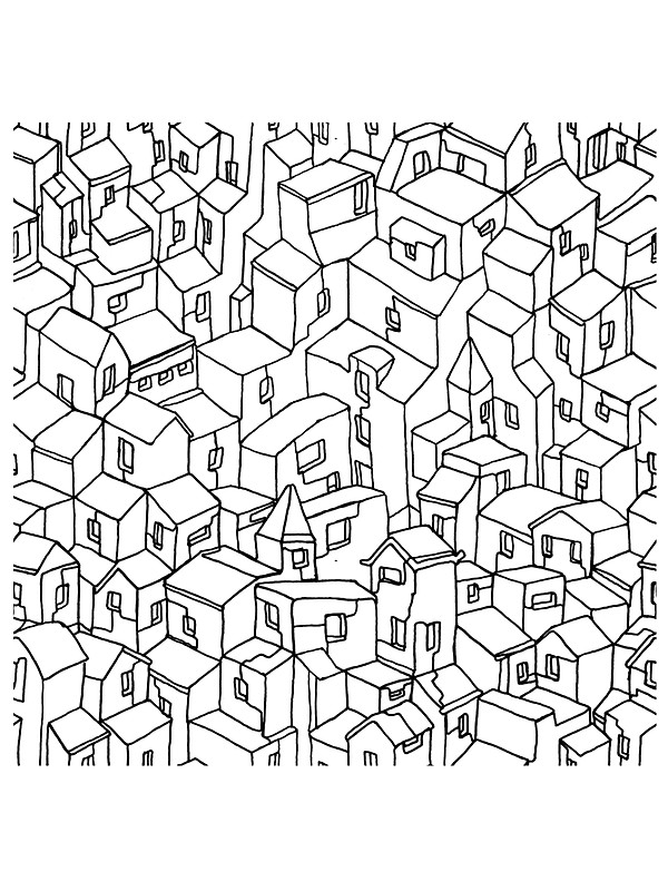 600x800 Endless One Line City Stickers By Garrettleaver Redbubble
