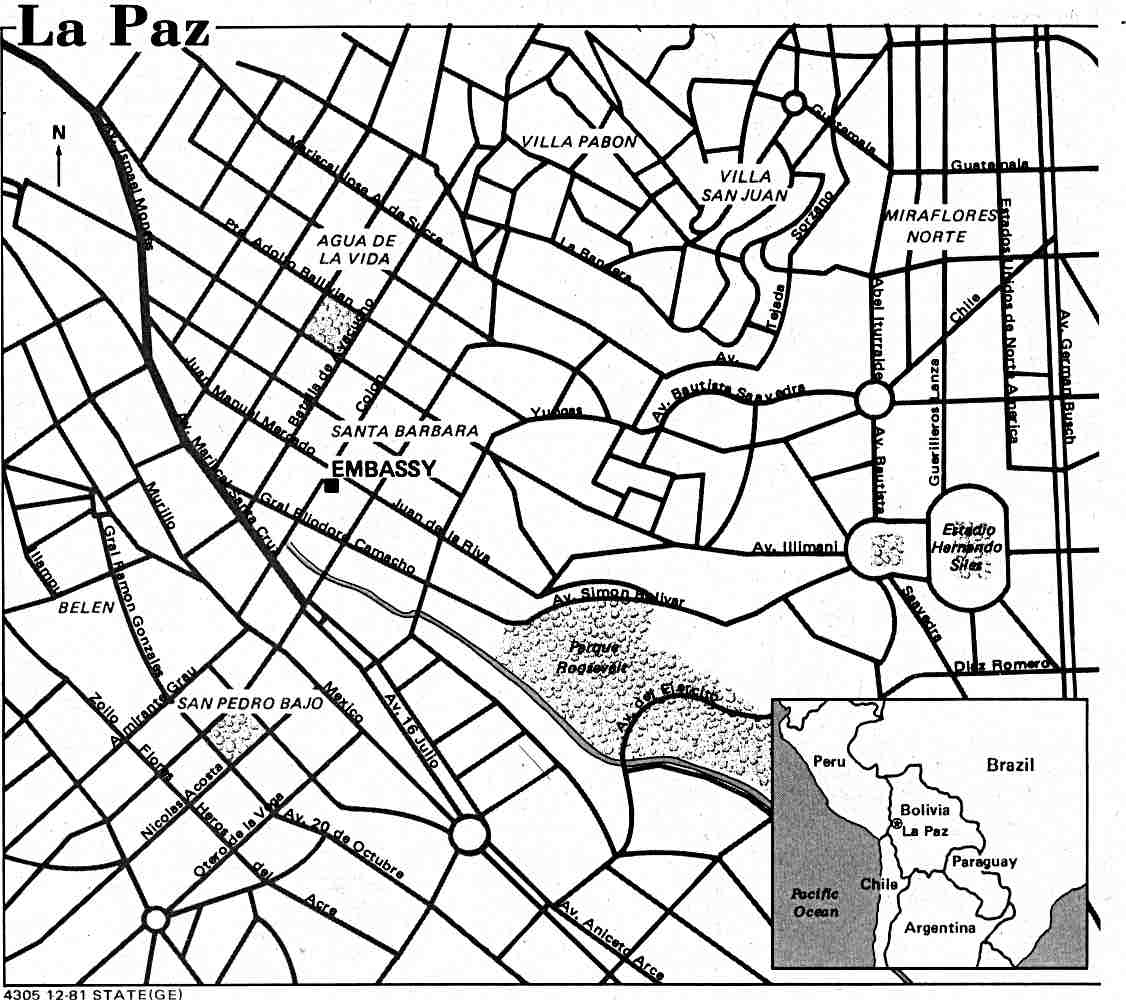 1126x1000 La Paz City Map, Bolivia