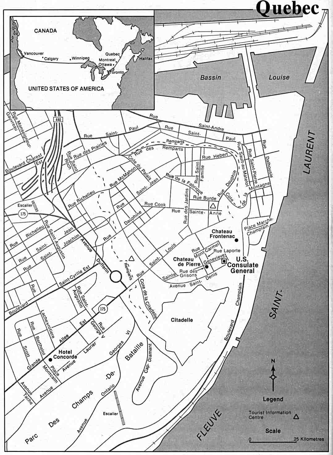 1078x1473 Quebec City Downtown Map, Quebec