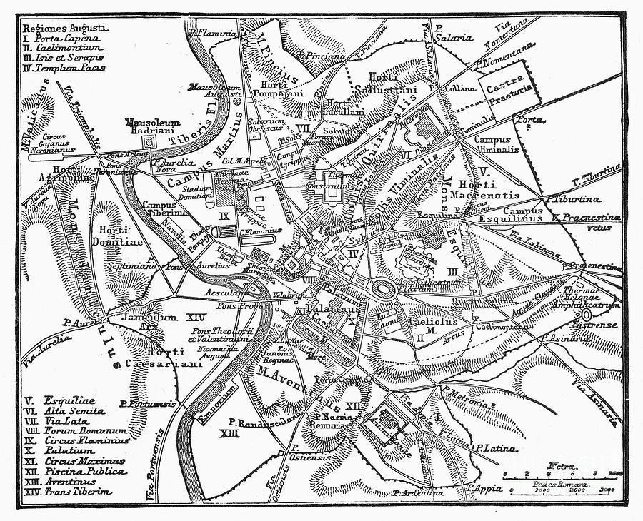 900x730 Roman Empire Map Of Rome Photograph By Granger Ciudad Roma