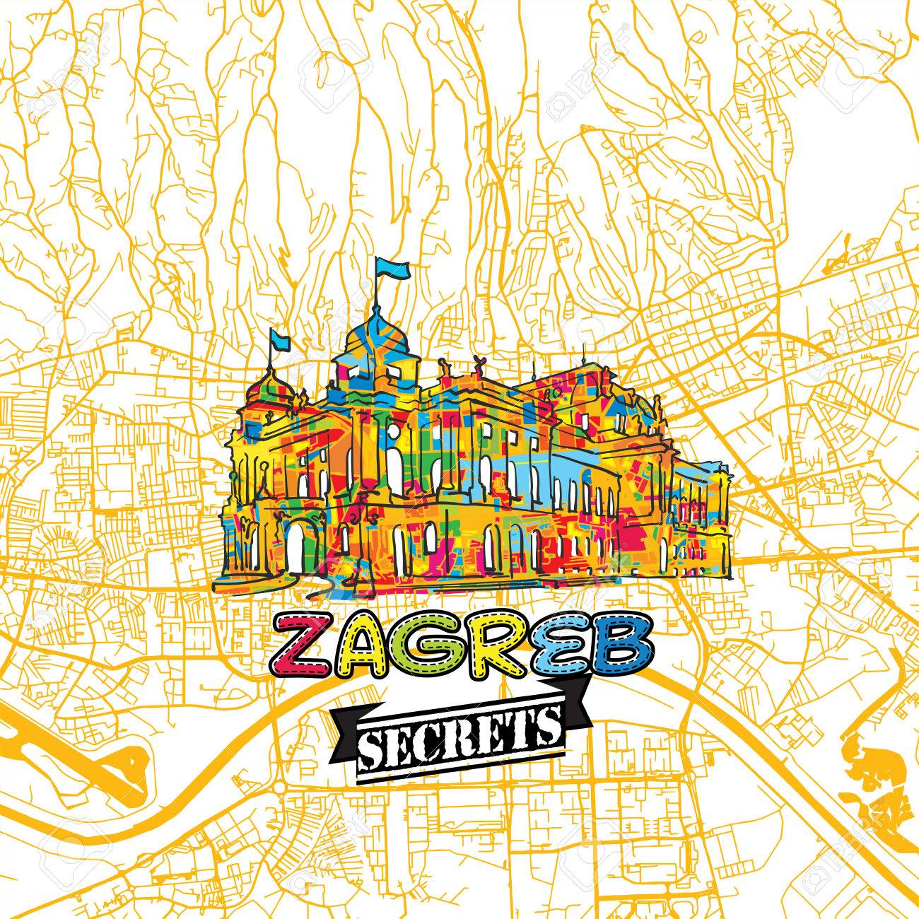 1300x1300 Zagreb Travel Secrets Art Map For Mapping Experts And Travel