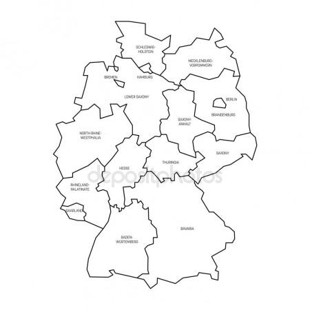 450x450 Map Of Germany Devided To 13 Federal States And 3 City States