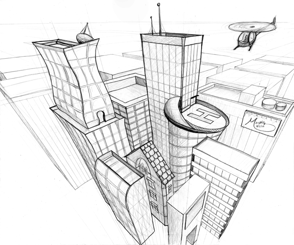 City Pencil Drawing