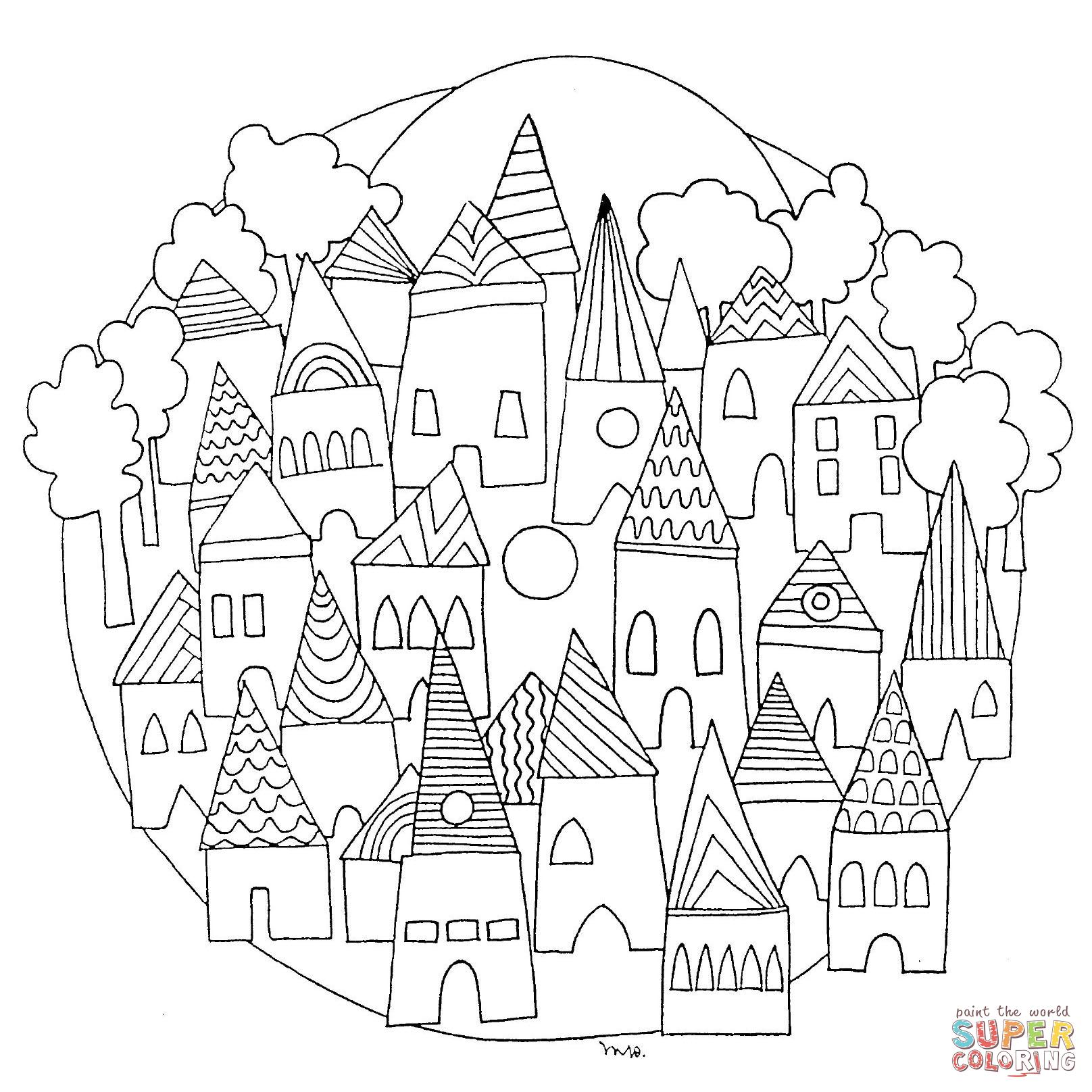1616x1616 Cityscape Mandala Coloring Page Doodles